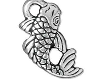 Fine Silver Plated Pewter Koi Japanese Fish Charm 17mm (1) 610174