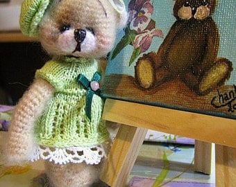 "4"" Thread Crochet Teddy BEar pattern and clothes patterns"