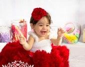 En Rouge - Red Flower Headband, Each Petal Handmade, Girls Headband,  Couture Headband, Baby Photos