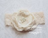 Antique Lace - Vintage Inspired Ivory Lace Headband, Handmade Ivory Flower, Flower Girl Headpiece
