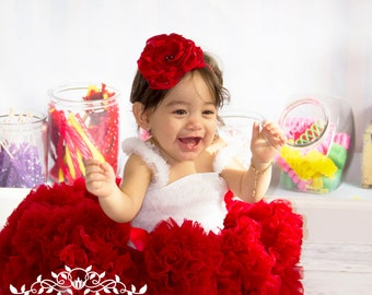 En Rouge - Red Flower Headband, Each Petal Handmade, Girls Headband,  Couture Headband, Baby Photos