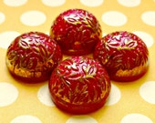 Four Vintage Cabochons German 15mm Red and Gold Glass Cabs (1-7-4)