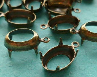 Brass Settings - 12x8mm One Loop Oval Settings (3-14-12)