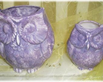Owl Planter Pencil Holder Home Decor set of 2 vintage Design