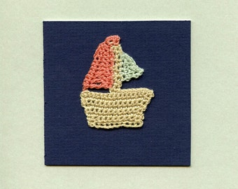 A one of a kind greeting card  ooak greeting card  THE BOAT 5 // crochet  assemblage  ooak  original work