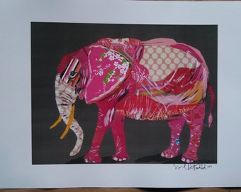 Pink Elephant Collage Limited Edition Print from Original Painting Collage