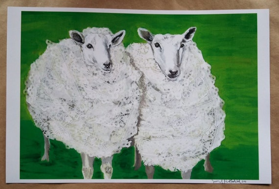Double Sheep in Doilies Limited Edition Print from Original Painting Collage