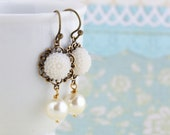 White Flower Earrings With Ivory Pearl - Bridal Earrings, Dangle Earrings, Pearl Earrings, Shabby Chic Earrings, Gift For Woman