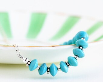 Turquoise Necklace - Sterling Silver Necklace - Boho Chic - Southwestern Necklace - Turquoise and Silver