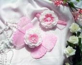 Flower Headband - White Pink Headband - Fluffy Ranunculus Flower w/ Pearls - Photo Prop - Girls, Baby, Toddler, Teen, Adult - Headband Only