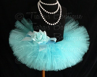 Girls Tutu Skirt, Aqua Blue Tutu, Birthday Tutu, Awesome Aqua, Custom Sewn Tutu