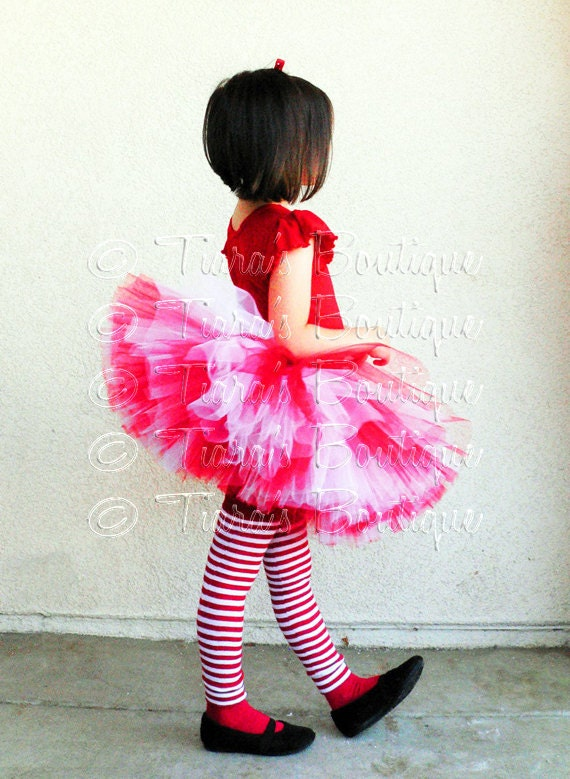 Red White Tutu w/ Polka Dot Bow, Custom Sewn Tutu, Candy Cane Sweetheart , Valentine's Day Tutu, Christmas Tutu for Girls, Babies, Tweens