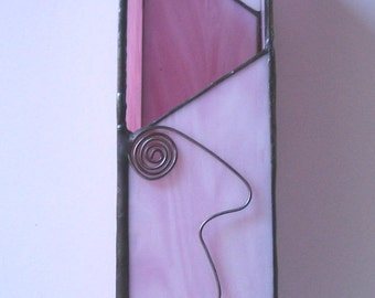 Light Pink Stained Glass Vase, Light Pink Stained Glass Candle Holder, Fireplace Matches Holder