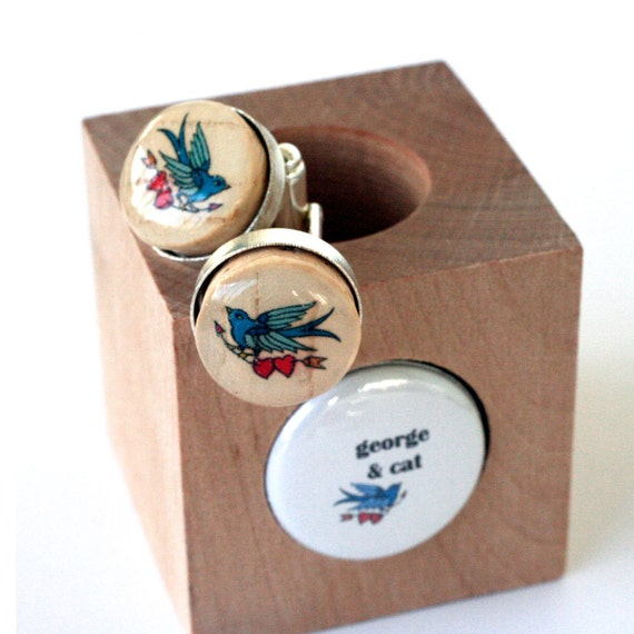 Tattoo Love Cufflinks - Custom Names - Recycled Cork in Wood Cube Stainless Steel Cufflinks Personalized Sparrow  Groom Wedding by Uncorked