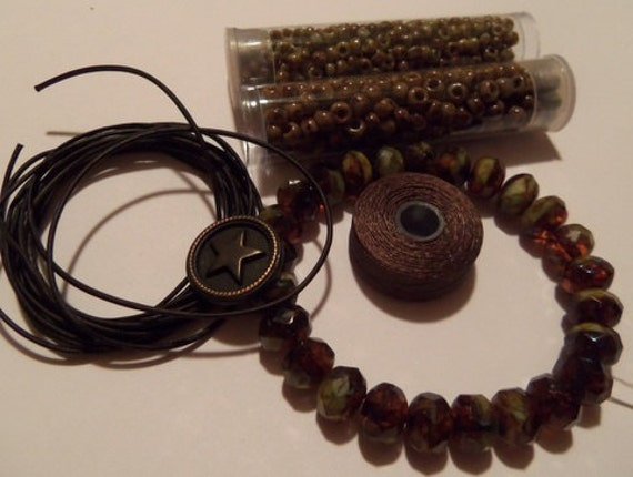 Supply Kit for Five OR Seven Row Leather Bracelet INCLUDING INSTANT Download Tutorial - Tobacco