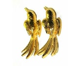 Vintage Bird Scatter Pins Textured Shiny Gold Tone Metal