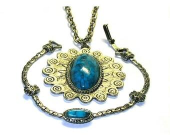 Vintage Pendant Necklace and Goldette Bracelet Silver and Turquoise