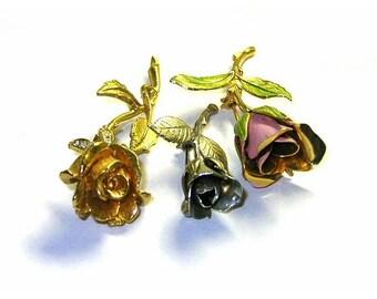 Vintage Dimensional Rose Brooches x3 Metal Enamel Rhinestones