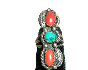Vintage 1970s Navajo Ring Sterling Turquoise Coral Signed M Haley