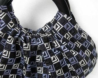 Geometric Silk Hobo Purse with Black Handles - Handmade Retro Handbag - Ready to Ship