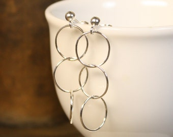 Simple Modern Sterling Silver Three Circle Dangle Post Earrings - Airy and Shiny