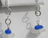 Sterling Silver Cobalt Blue Sea Glass Earrings Sea Glass Jewelry E-56