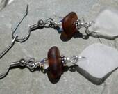 Sterling Silver Sea Glass Earrings Sea Glass Jewelry E-62