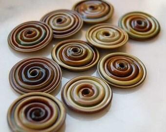 10 Raku Slim Discs Handmade lampwork beads , glass beads by Beadfairy Lampwork SRA