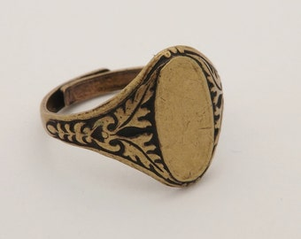 Ring Blanks - 5 Brass Ox (oxidized) Floral Style 6 Oval Glue On Pad Adjustable Ring Blanks - Great for Glass, Buttons and More