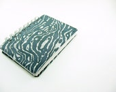 Blank Notebook, Sketchbook, Journal - covered in hand printed, hand dyed batik fabric nautical gray waves