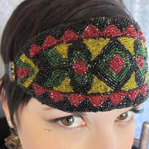 RESERVED - 1920s Gatsby Headband, Headpiece , Bandeau, Vibrant Colors, Glass Beads