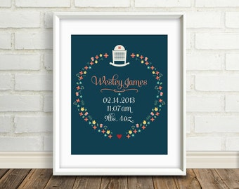 New Baby Gift : New Mother Gift - Personalized Modern Folk Art Nursery Art Print - 8x10 / Custom New Baby Poster