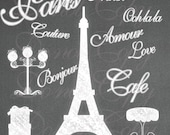 INSTANT DOWNLOAD Chalk Paris Shabby French Boutique Eiffel Tower Chic Chalkboard Digital Clipart Scrapbooking Graphics No.1 Buy 1 Get 1 Free