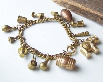 REDUCED Vintage Charm Bracelet, Vintage Plastic Bracelet, Vintage Purdue University Bracelet, Purdue Boilermakers, Etsy, Etsy Jewelry