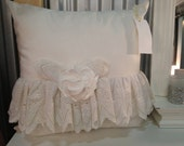 White pillow cover with vintage eyelet lace ruffle and a fabric flower, 18x18, cotton