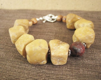 Chunky Asymmetrical Bracelet - Jasper Stone - Camel Red Oxblood - Statement Jewelry - Brown Beige Silver - Funky Inbloom - Boho Gems Sale