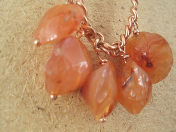 Orange Carnelian Stone Necklace - With Chunky Copper Chain - Round - Dangly - Bohemian Styles - Boho Gemstone Jewelry - Hippie Festival