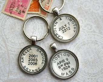 Personalized Keychain - Postmark Custom Key Chain - Kid's Names or Custom Location and Date - Men's Keychain