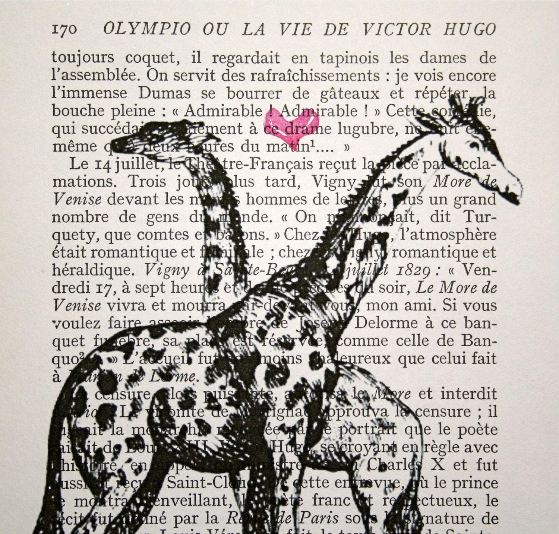 Giraffes in Love Drawing x 7 Giraffes in Love Print