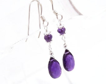 Purple Amethyst,  Silver Earrings, Handmade Jewelry, Birthstone Jewelry, February Birthstone