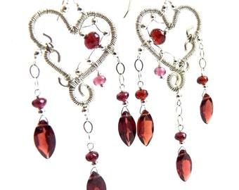 Red Garnet, Silver Earrings, Handmade Jewelry, Birthstone Jewelry, January Birthstone