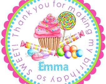 Sweet Shoppe Stickers, Wonderland Sweet Shoppe, Cupcake, Candy, Lollipop, Sweet Tarts, Gumballs, polka dots, Birthday, Children, favor