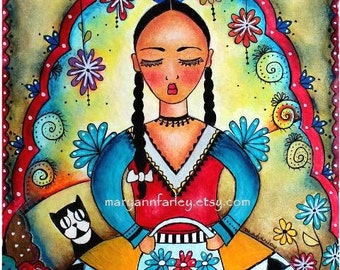 Mexican Girl Whimsical Art Print, Day of the Dead Art, Girl and Cat Art, Mixed Media Illustration, Original Art Print, 8 x 10, Blue Red