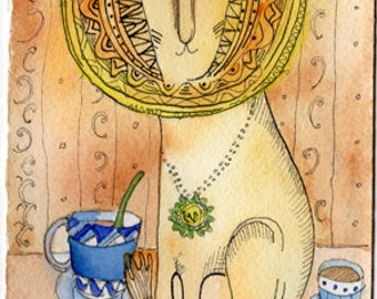 Tea Time Original Art 4x6