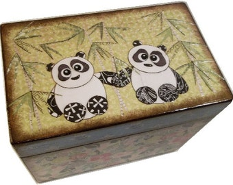 Recipe Box, Wedding Guest Book Box, Holds 4x6 Cards, Bridal Shower Gift, Storage and Organization, Large Box, Panda Box, MADE TO ORDER