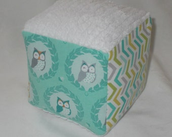 Owlies Fabric and Chenille Block Rattle