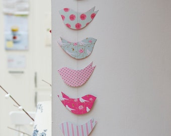 Paper Garland, baby mobile, baby shower, nursery decor, Shabby Chic, Bird, French country, Wedding garland, Birthday Party Garland, pink