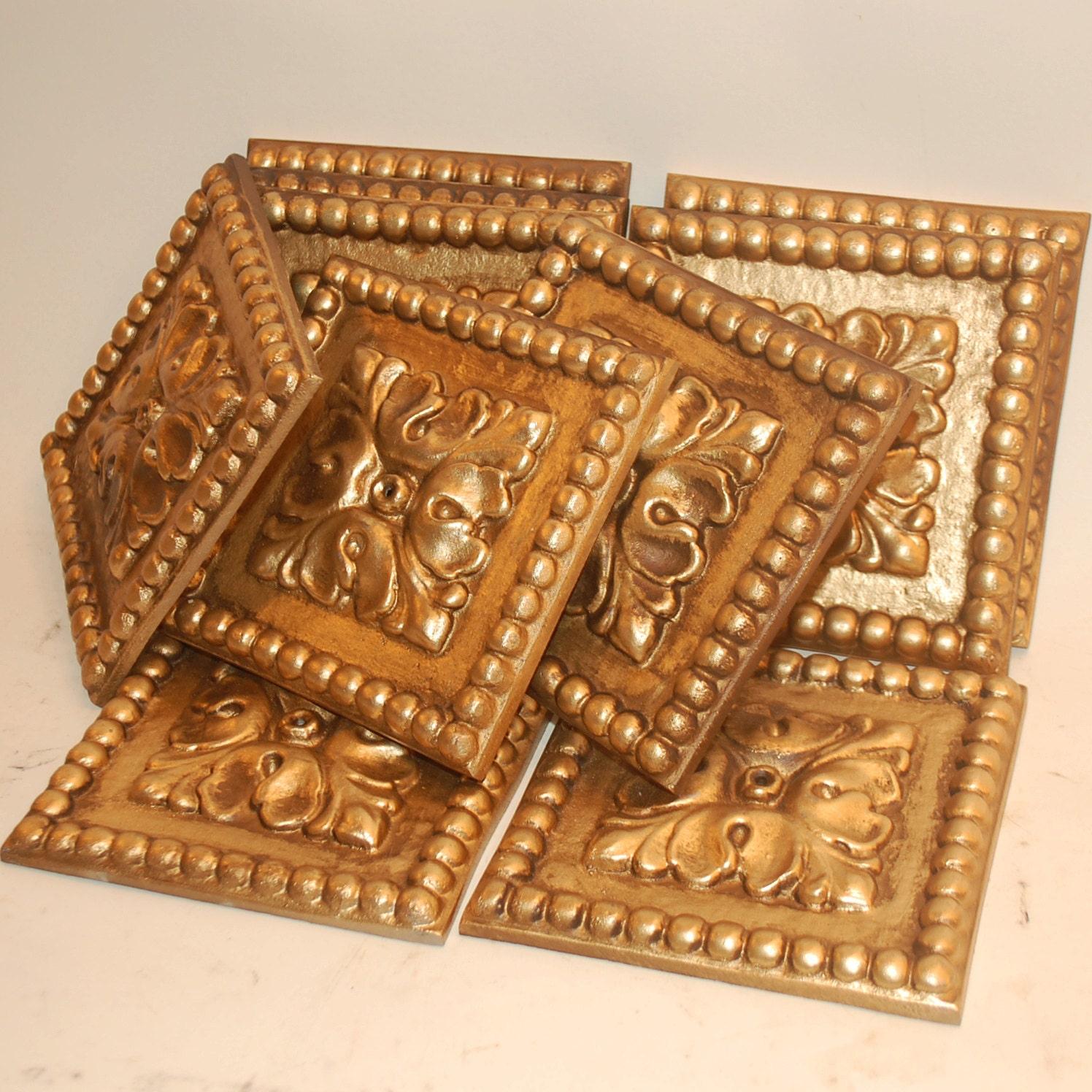 Ten Decorative Wall Tiles Trim Cast Aluminum Metal
