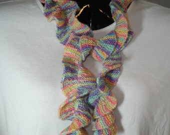 Pastel Sherbet Spring-Weight Ruffle Scarf - Hand knitted