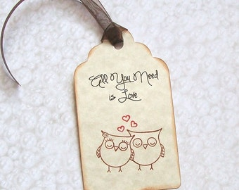 Wedding Wishing Tree Tags - Owls in Love - All You Need is Love (set of 50)